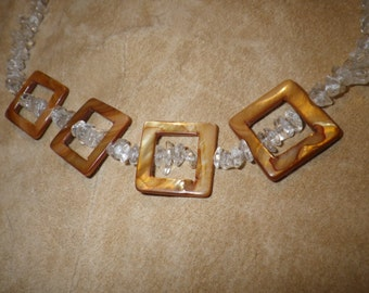 """37. Clear Quartz Crystal with Mother of Pearl ~a """"Throwing Stones at Glass Hearts"""" NECKLACE!"""