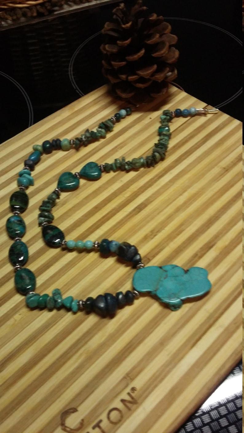 107.  Turquoise Azurite & Malachite Statement NECKLACE image 0
