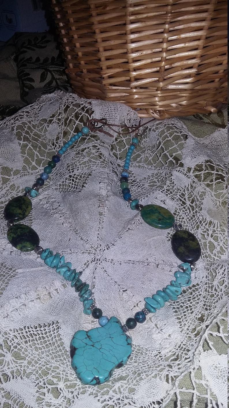 101.  Turquoise & Azurite Statement NECKLACE image 0