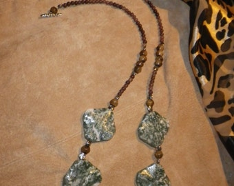 """34. Green Tree Agate, Rose Jasper and Horn ~a """"Throwing Stones at Glass Hearts"""" NECKLACE!"""