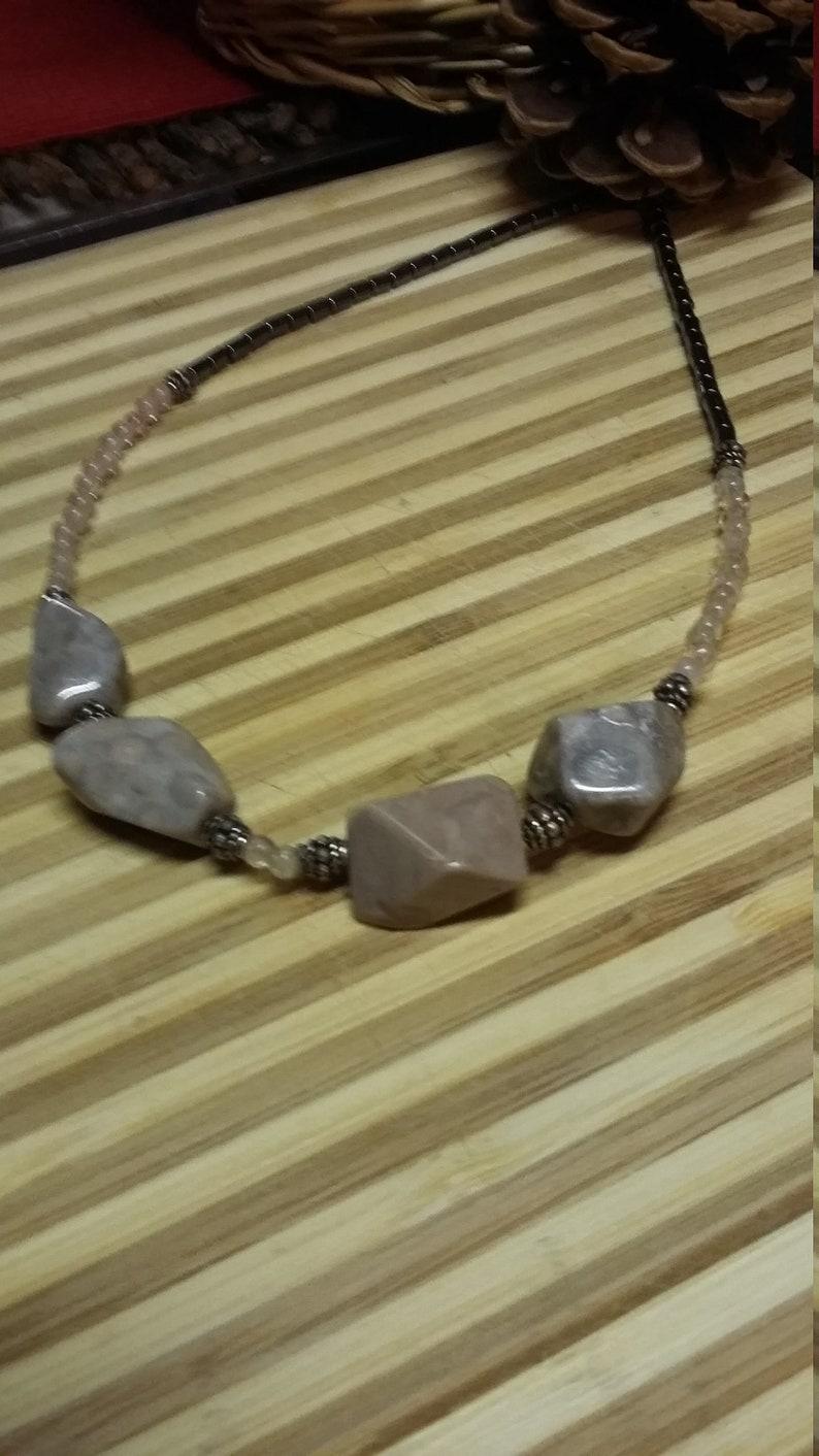109.  Fossil Cherry Quartz & Hematite Choker Style NECKLACE image 0