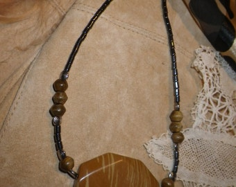 """29. Painted Jasper, Hematite & Horn ~a """"Throwing Stones at Glass Hearts"""" NECKLACE!"""