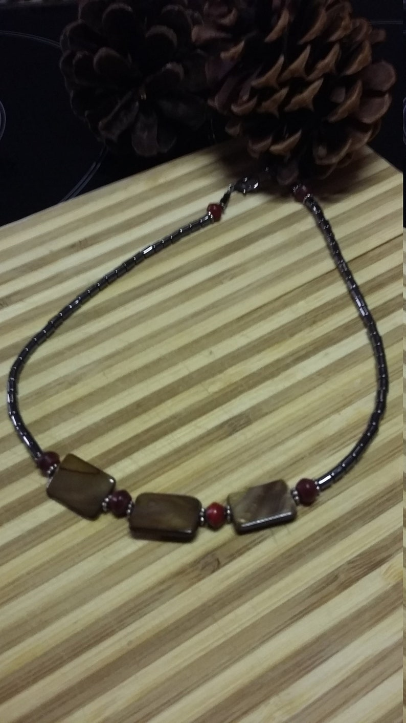 106.  Mother of Pearl Hematite & Horn Choker Style NECKLACE image 0