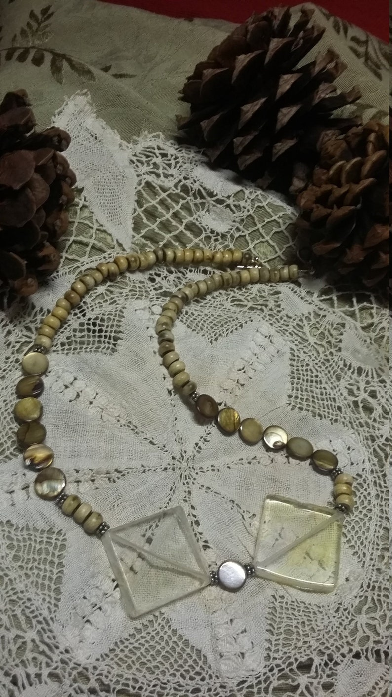 89.  Pineapple Quartz Mother of Pearl & Horn NECKLACE image 0