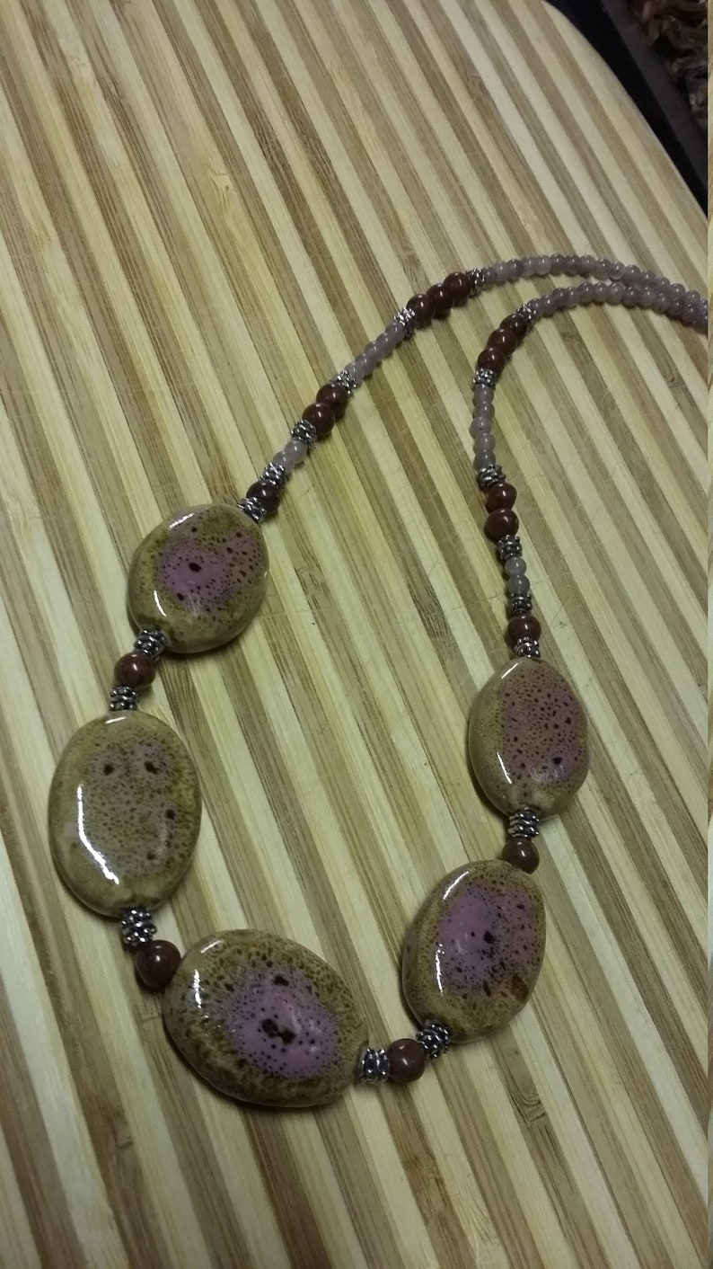 117.  Rose & Brown Jasper with Handcrafted Clay Beads image 0