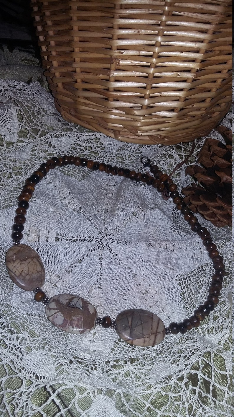 92.  Picture Jasper & Horn Choker Style NECKLACE image 0