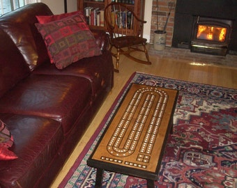 High Quality Coffee Table Cribbage Board, Early American Black Contrast Border, Best  Seller, Gift For