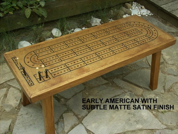 game table cribbage board coffee table early american minwax etsy rh etsy com cribbage board coffee table plans diy cribbage board coffee table