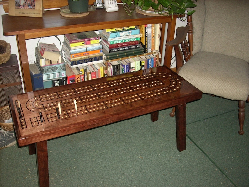 cribbage table cribbage board coffee table mahogany minwax etsy rh etsy com cribbage board coffee table plans how to make a cribbage board coffee table