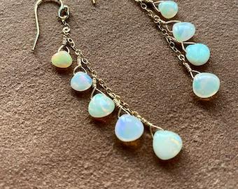 Long Opal Earrings, Gold