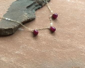 Ruby teardrop necklace on gold chain