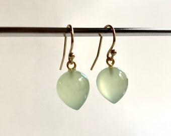 Upside-Down Teardrop Earrings, Mint Green Chalcedony