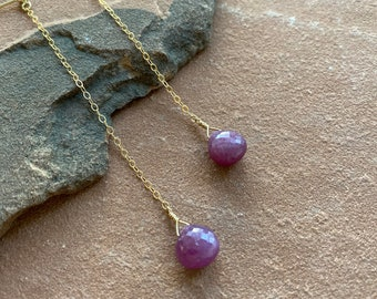 Natural ruby drop earrings on gold chain