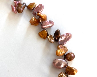 Long keshi pearl necklace with smoky quartz