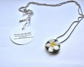 Clearance Sale Felted Daisy Pendant Necklace