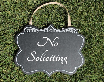 No Soliciting Sign, No Solicitation Sign, Wooden Door Sign