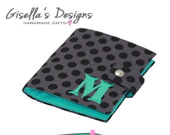 Black, grey and teal Personalized Family Passport Cover with snap closure, Monogram Passport Wallet, Customized Multiple passport holder.