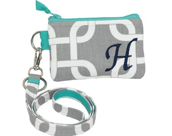 Lanyard & Personalized Id wallet, Custom made credit card purse and lanyard set, Monogram women Birthday gift, Preppy zipper pouch