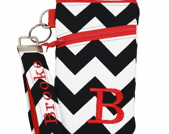 Black chevron and red  iPhone 8 wristlet Wallet with Asymmetric pocket, Personalized iPhone 7 keychain wallet, wristlet wallet for iphone 6.