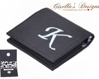 """Charcoal Square Business card holder, 2"""" x 2"""", 2.25"""" x 2.25"""", 2.5"""" x 2.5"""", 2.56""""x2.56""""  or 3""""x3"""", Custom Made square business card case."""