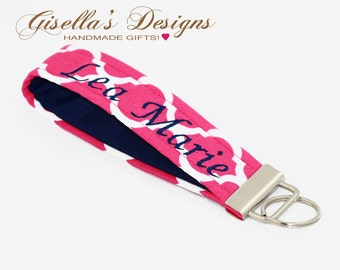 Personalized Key Fob Holder, Monogrammed wristlet Key chain, Custom Key Fob chain, Makes a great gift, Mother's day gift, graduation gift