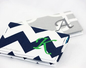 Personalized Business card holder, Monogrammed business card case, Custom made credit card wallet, Intern Gift, Navy and green card holder.