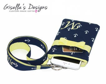 Nautical iPhone 8 wallet with Personalized lanyard, Monogrammed iPhone 7 plus  Holder, Custom made Samsung Galaxy S8 plus wallet. (PHLAZ)