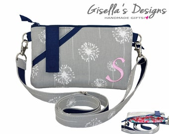 iPhone 8 Personalized crossbody bag, Grey dandelion and navy cell Phone wallet with shoulder strap, crossbody phone purse, smartphone wallet