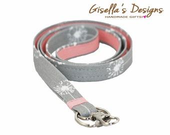 Grey dandelions and Shell pink Lanyard, Custom ID Badge Holder, Neck Strap Lanyard, Custom Made lanyard, Student iD Holder.