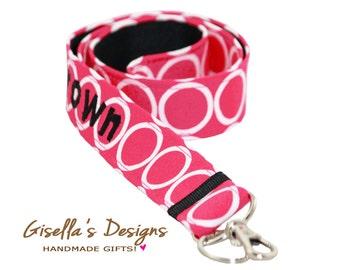 Personalized Pink and black fabric Lanyard, Monogram badge ID Holder, Custom Keychain Lanyard, Teacher lanyard gift, Nurse gift idea.