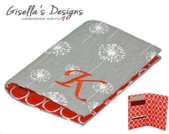 Grey dandelions and orange Personalized Family Passport Cover, Initial Passport Holder, Handmade Passport Wallet, Multiple passport holder.