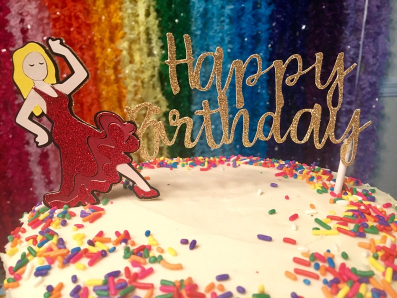 Flamenco Dancer Emoji Happy Birthday Cake Topper