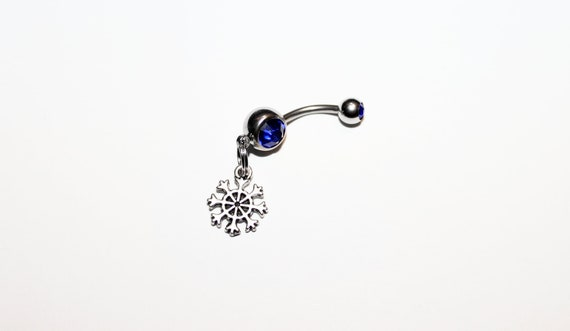 Christmas Jewelry.Tiny Snowflake Belly Button Ring Christmas Jewelry Navel Piercing Stocking Stuffer