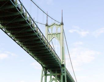 Portland Oregon Photography, St Johns Bridge Gothic Architecture Pacific Northwest City Modern Travel Cathedral Park Art Print