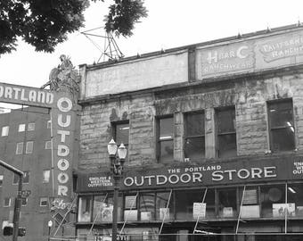 Portland Outdoor Store Photography, Sign Architecture Oregon Pacific Northwest Abstract Travel Black and White Art Print
