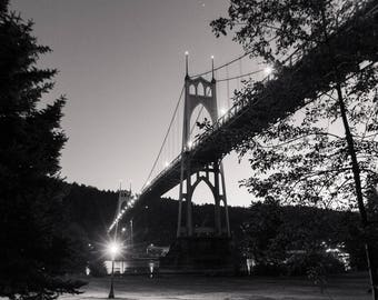 Portland Oregon Photography, St Johns Bridge Gothic Architecture Night Pacific Northwest City Modern Travel Cathedral Park Art Print