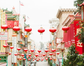 San Francisco Chinatown Photography, Colorful SF Chinese lanterns Red Prints Wall Art California Wanderlust Travel Urban Cityscape