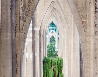 Portland Oregon Photography, St Johns Bridge Gothic Architecture Pacific Northwest City Abstract Modern Travel Cathedral Park Art Print