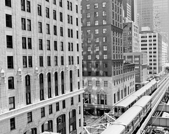 Chicago Photography, The El Train Chicago Photo, Cityscape Print, Elevated Train Track Photo, Chicago Black and White Wall Art, Connection