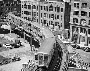 Chicago Photography, The El Train Chicago Photo, Cityscape Print, Elevated Train Track Photo, Chicago Black and White Wall Art, Brown Line