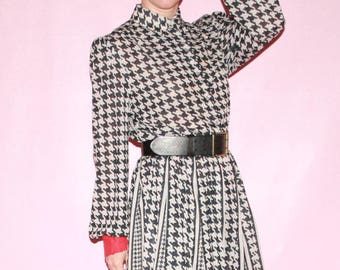 Graphic Black & White Dress with Red Sleeves