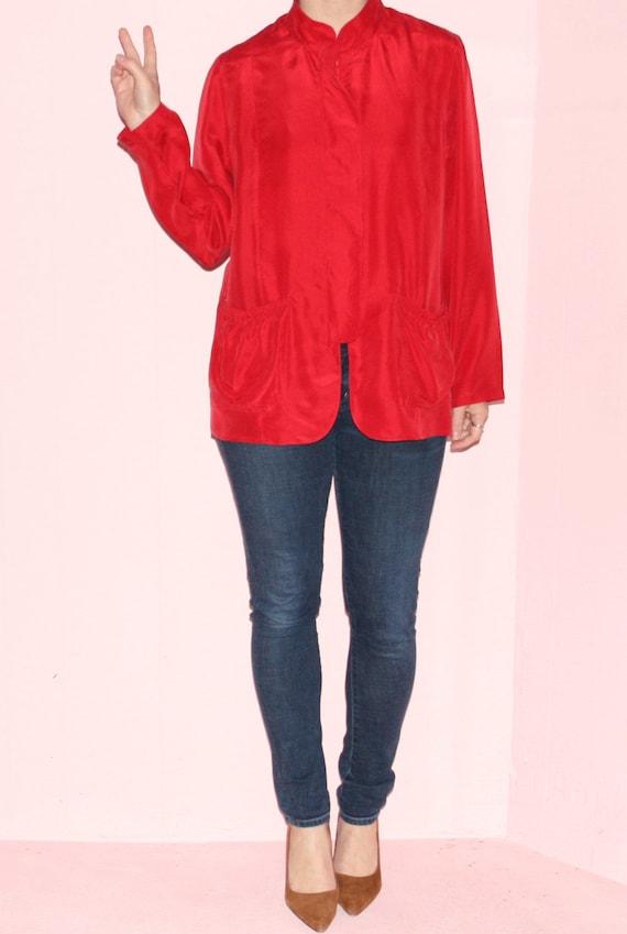 Red Jacket/Kimono/Silk/Medium