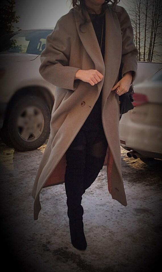 Wool Maxi Coat/ Kristen Blake/ Size 10/ Camel Max… - image 5