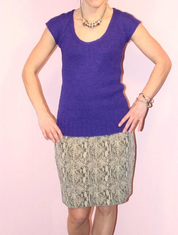 Silk Skirt/ Snakeskin/Pencil Skirt/ Size 8