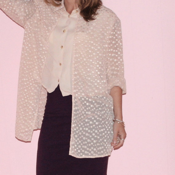Polka Dot Blouse/Chiffon/1990s/Small