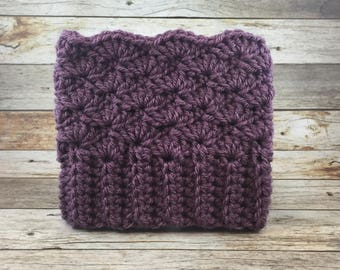 READY TO SHIP Shabby Shell Boot Cuffs in Dusty Purple