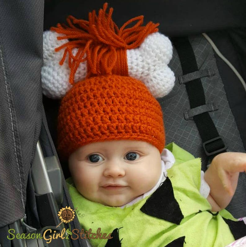 5ca5f1b5a007e Cave Girl Hat-Pebbles Inspired-Sizes Newborn to Toddler