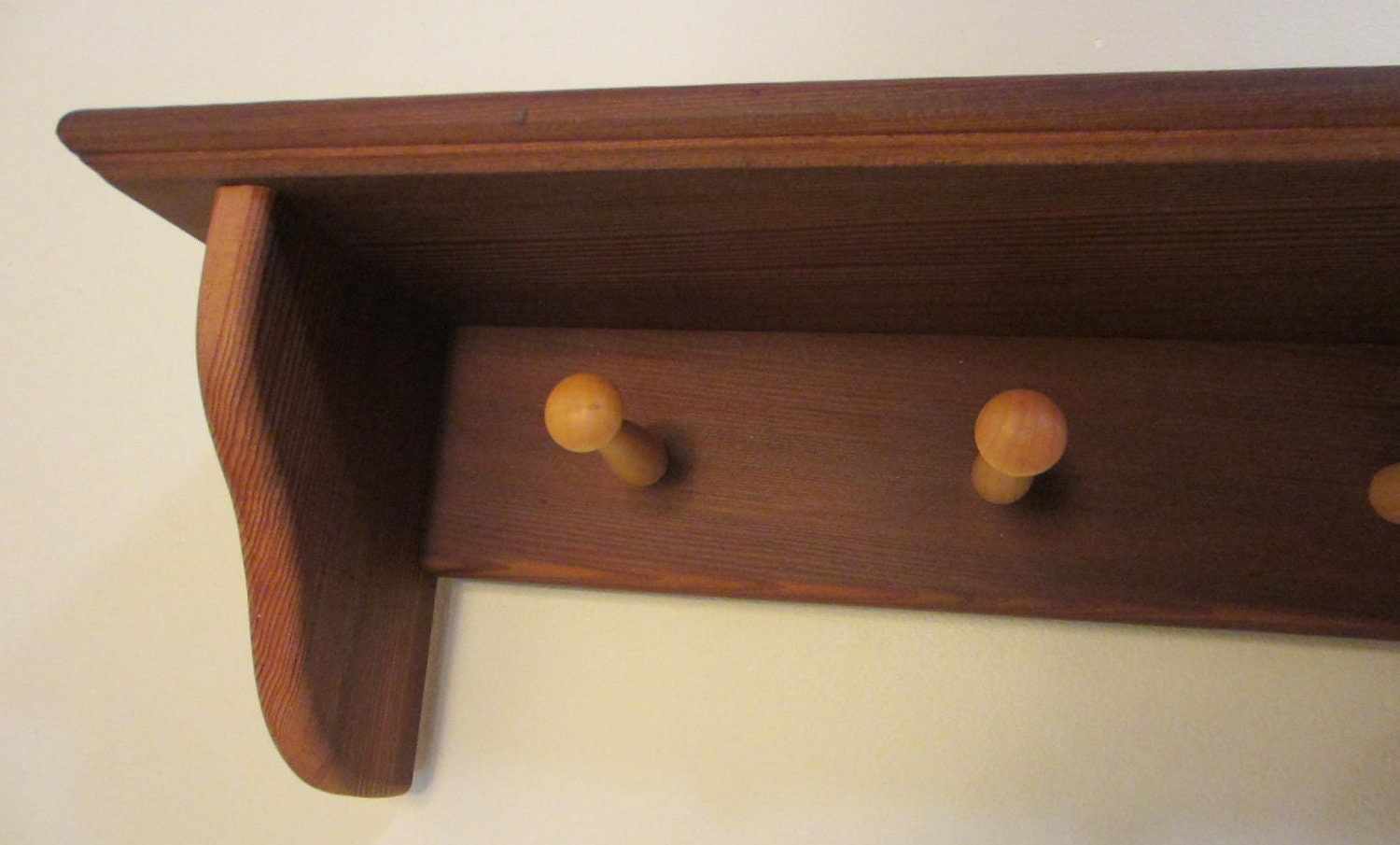 Mahgogany Coat Rack Wall Mounted Coat Hook Shaker Rail