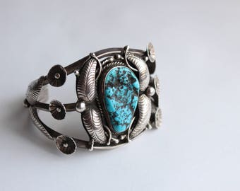 Native American Turquoise Bracelet Signed Ivan V Sterling Silver Navajo- Reduced