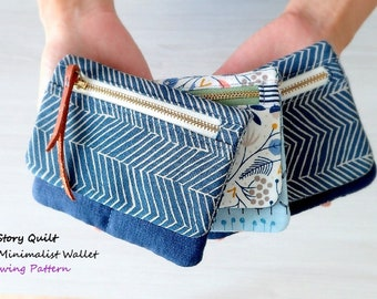 minimalist wallet PDF sewing pattern, instant download, pouch pattern, pouch tutorial, DIY , sewing tutorial, zip pouch pattern